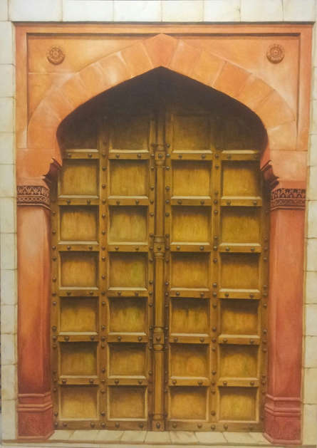 Landscape Oil Art Painting title 'The Door' by artist Dhirendra Mandge