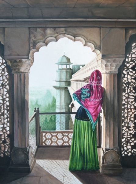 Figurative Oil Art Painting title 'To The Horizon' by artist Dhirendra Mandge