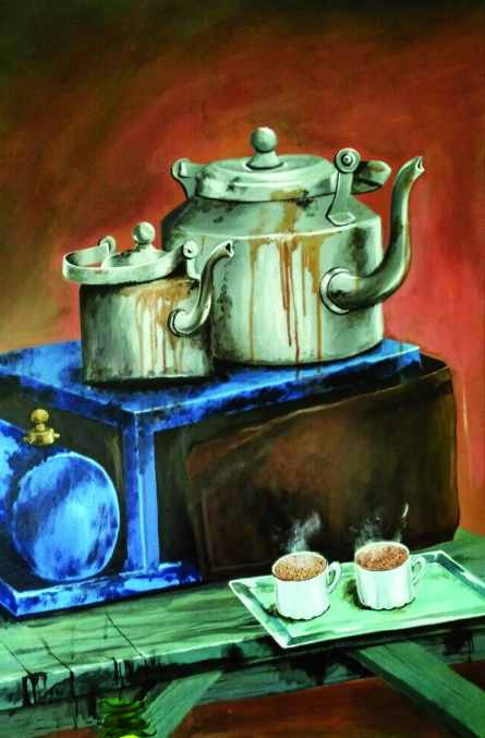 Still-life Acrylic Art Painting title 'Hot Couple' by artist Divya Chinni