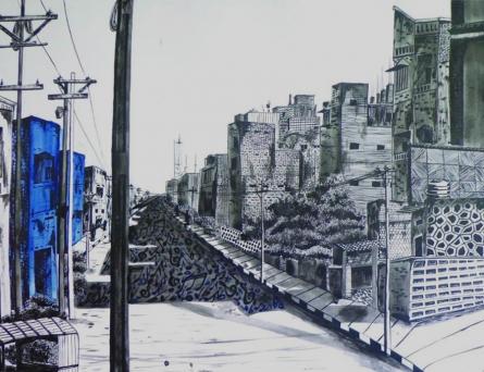 Cityscape Ink Art Drawing title 'Street Of Music' by artist Divya Chinni