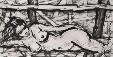 Nude Oil Art Painting title Untitled 100 by artist Santoshkumar Patil