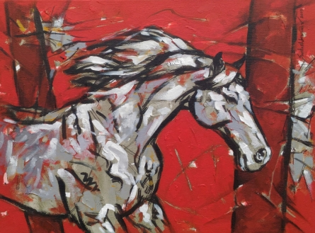 Animals Acrylic Art Painting title 'Untitled 72' by artist Santosh Patil