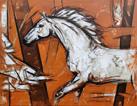 Animals Oil Art Painting title 'Untitled 75' by artist Santosh Patil