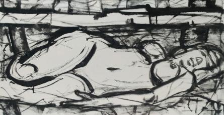 Nude Oil Art Painting title 'Untitled 99' by artist Santoshkumar Patil