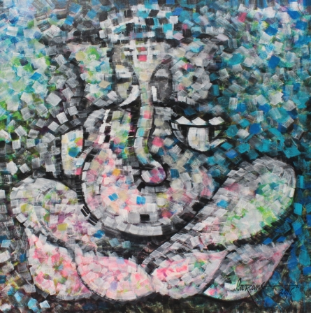 Religious Acrylic Art Painting title 'Belief 2016' by artist Sarang Singla