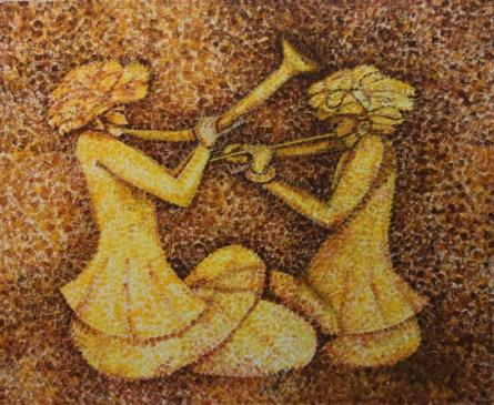 Figurative Acrylic Art Painting title 'Concert2014' by artist Sarang Singla