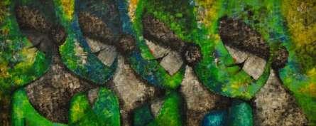 Figurative Acrylic Art Painting title 'Matrix72 X 30 Acrylic On Canvas' by artist Sarang Singla