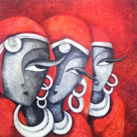 Figurative Acrylic Art Painting title Mesmerizers201248 X 48acrylic On Canvas by artist Sarang Singla