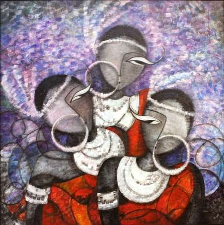 Figurative Acrylic Art Painting title Pristeens36 X 36 Inches by artist Sarang Singla