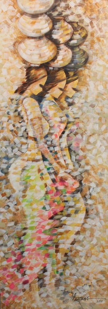 Figurative Acrylic Art Painting title 'Rivelets' by artist Sarang Singla