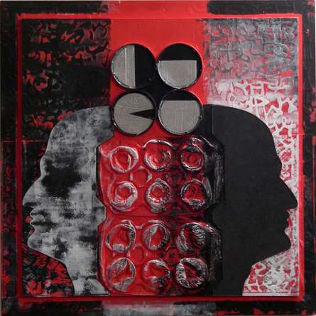 Scarlet Tides Duality Of Grey - IX | Mixed_media by artist Vivek Rao | wood and acrylic