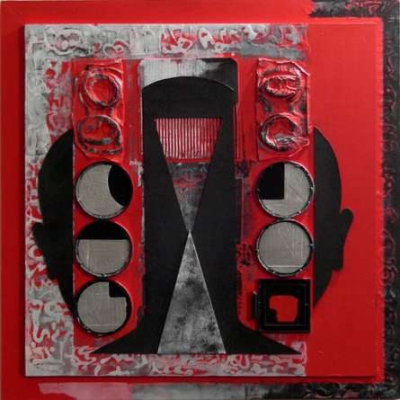 Scarlet Tides Duality Of Grey - V | Mixed_media by artist Vivek Rao | wood and acrylic