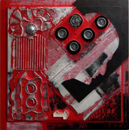 Vivek Rao | Scarlet Tides Duality Of Grey VI Mixed media by artist Vivek Rao on wood and acrylic | ArtZolo.com