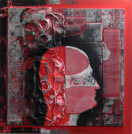 Vivek Rao | Scarlet Tides Duality Of Grey XII Mixed media by artist Vivek Rao on wood and acrylic | ArtZolo.com