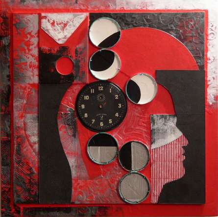 Vivek Rao | Scarlet Tides Duality Of Grey XIII Mixed media by artist Vivek Rao on wood and acrylic | ArtZolo.com