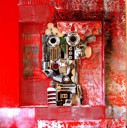 Mixed Media Painting titled 'Decorative Assemblages VI' by artist Vivek Rao on wood