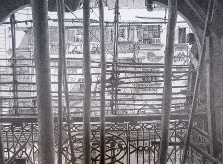 Cityscape Pen-ink Art Drawing title 'Behind The Scene' by artist Umesh Ghadge
