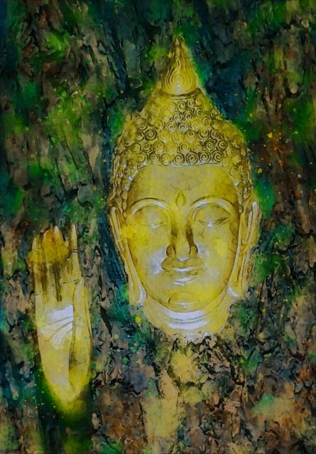 art, digital painting, canvas, religious, buddha