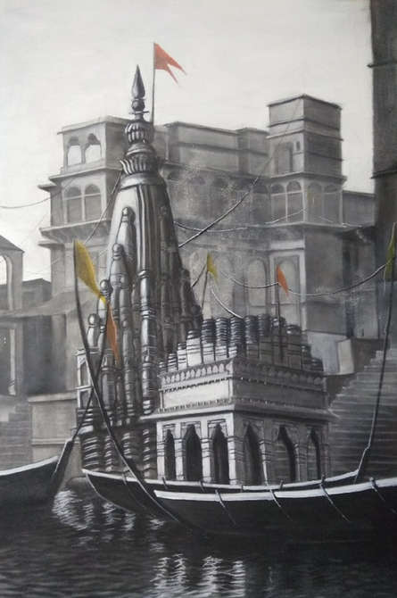 Cityscape Charcoal Art Painting title Ganga Ghat 3 by artist Akash Parkande