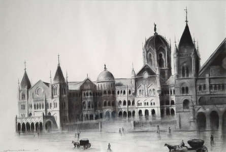 Cityscape Charcoal Art Painting title 'Old Mumbai' by artist Akash Parkande