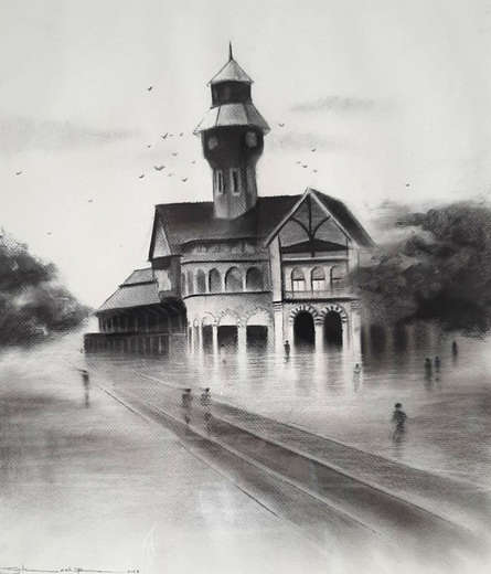 Cityscape Charcoal Art Painting title Old Mumbai 4 by artist Akash Parkande