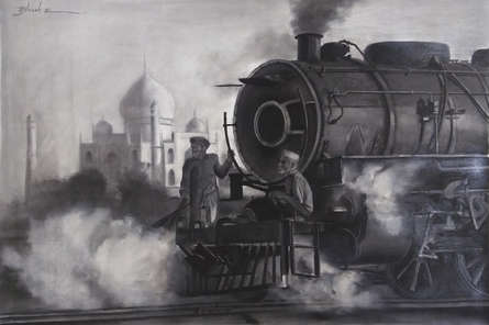 Cityscape Charcoal Art Painting title 'Old Taj' by artist Akash Parkande