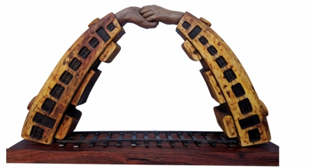 Wood, Fiberglass, me Sculpture titled 'The Bond Unbroken' by artist Arvind Prajapati