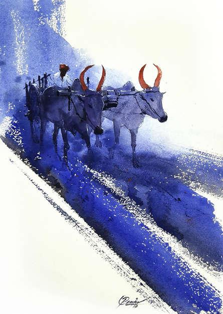 Figurative Watercolor Art Painting title 'Bullwhacker 1' by artist Mv Renju