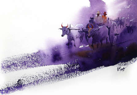 Figurative Watercolor Art Painting title 'Bullwhacker 2' by artist Mv Renju