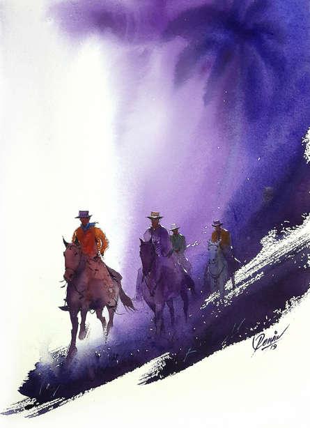 Figurative Watercolor Art Painting title 'Bullwhacker 3' by artist Mv Renju