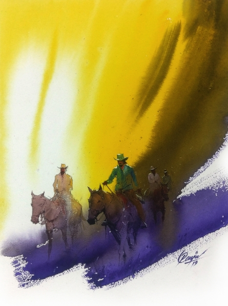 Figurative Watercolor Art Painting title 'Wanderers 1' by artist Mv Renju