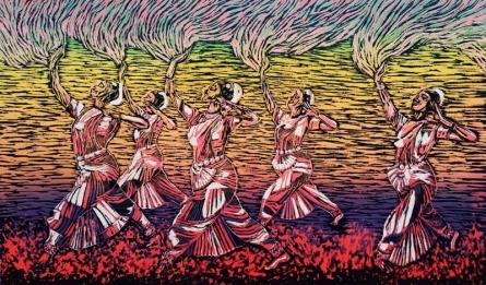 Swati Siwach | Surfing On Burning Balls Printmaking by artist Swati Siwach | Printmaking Art | ArtZolo.com