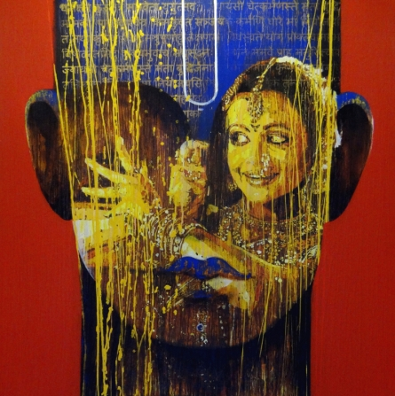 Religious Acrylic Art Painting title 'Krishna' by artist Nayanjeet Nikam