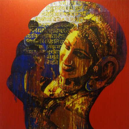 Religious Acrylic Art Painting title 'Krishna 2' by artist Nayanjeet Nikam