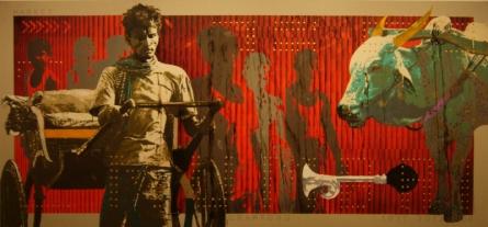 Figurative Acrylic Art Painting title 'Mumbai 23' by artist Nayanjeet Nikam