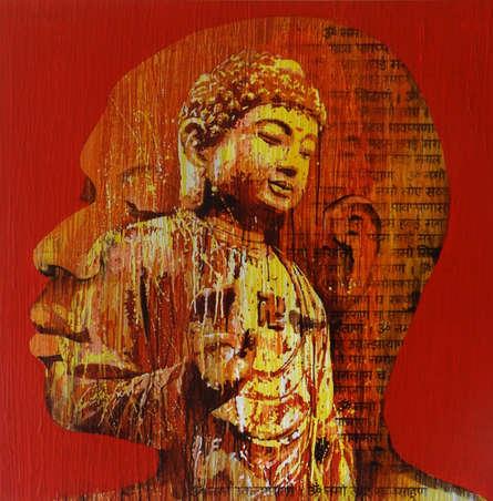 Figurative Acrylic Art Painting title 'Nirvana' by artist Nayanjeet Nikam