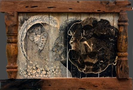 contemporary Mixed-media Art Painting title 'Rural Life Culture And Its Politics Seri' by artist Sagar Suresh Naik Mule