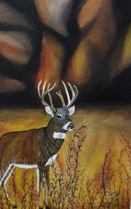 Animals Acrylic Art Painting title 'Deer' by artist Reema Ravindran
