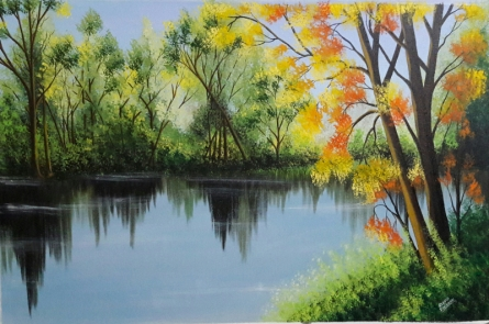 Landscape Acrylic Art Painting title 'Spring Trees Near Lakeside' by artist Reema Ravindran