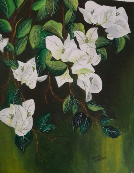Nature Acrylic Art Painting title 'White Bouganvillea' by artist Reema Ravindran