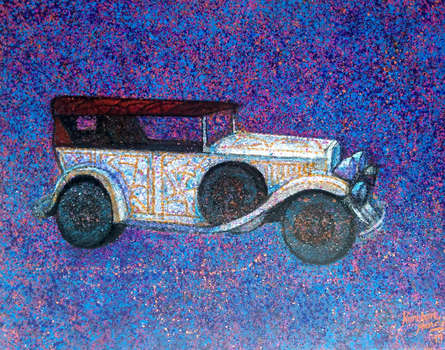 Transportation Acrylic Art Painting title 'Vintage Series 10' by artist Kanchan Hande