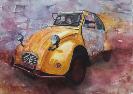 Transportation Watercolor Art Painting title 'Vintage Series 11' by artist Kanchan Hande