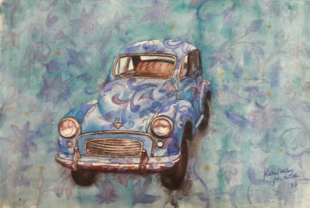 Transportation Watercolor Art Painting title 'Vintage Series 3' by artist Kanchan Hande