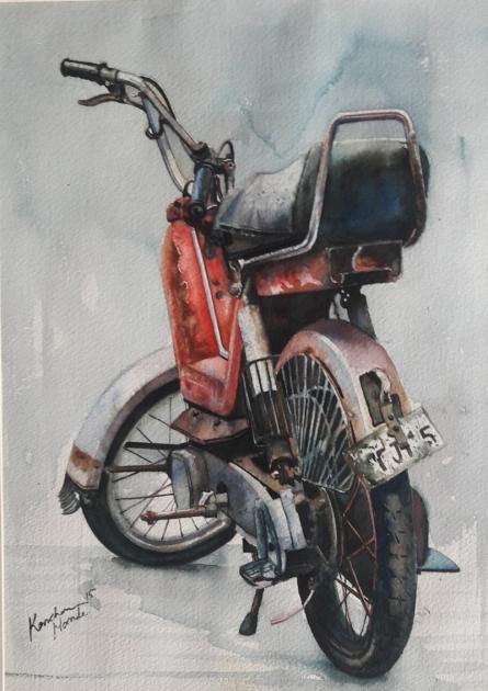 Transportation Watercolor Art Painting title 'Vintage Series 6' by artist Kanchan Hande