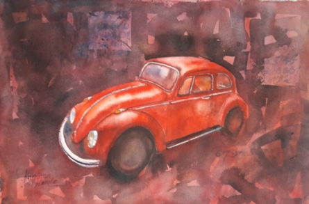 Transportation Watercolor Art Painting title 'Vintage Series 7' by artist Kanchan Hande