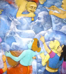 Figurative Acrylic Art Painting title 'My Dream' by artist Apet Pramod
