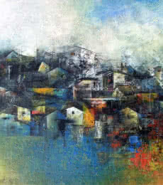 M Singh | Acrylic Painting title Distant View of a Village on Canvas | Artist M Singh Gallery | ArtZolo.com