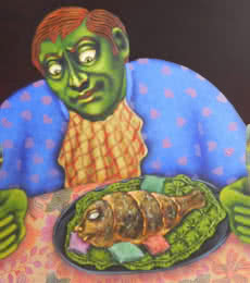 Figurative Acrylic Art Painting title BHOG by artist Deblina Ghosh