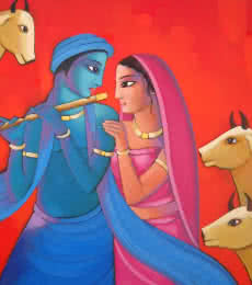 Krishna With She (iii) | Painting by artist Sekhar Roy | acrylic | Canvas