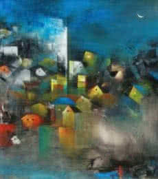 Village Of My Dreams I | Painting by artist M Singh | acrylic | Canvas